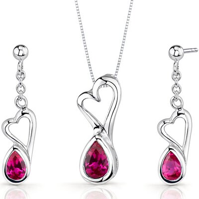 Heart Design 2 Carats Pear Shape Sterling Silver Ruby Pendant Earrings Set