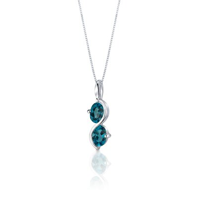 Oravo 2 Stone 3.75 Carats Oval Shape Sterling Silver London Blue Topaz Pendant Earrings Set