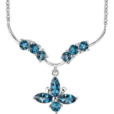Oravo Luxurious 4.00 Carats Marquise and Round Shape London Blue Topaz Multi-Gemstone Pendant Necklace in Sterling Silver