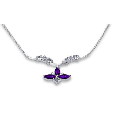 Luxurious 1.50 Carats Marquise Shape Amethyst and White CZ Gemstone Necklace in Sterling Silver