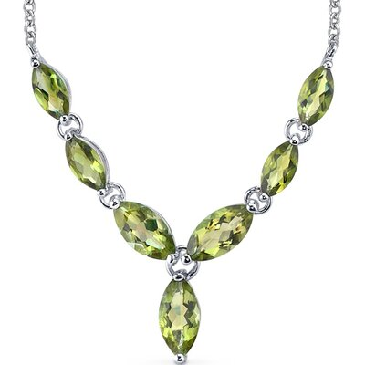 Marvellous 5.75 Carats Marquise Shape Peridot Multi-Gemstone Pendant Necklace in Sterling Silver
