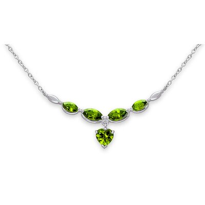 Elegant 5.25 Carats Heart and Marquise Shape Peridot Multi-Gemstone Necklace in Sterling Silver