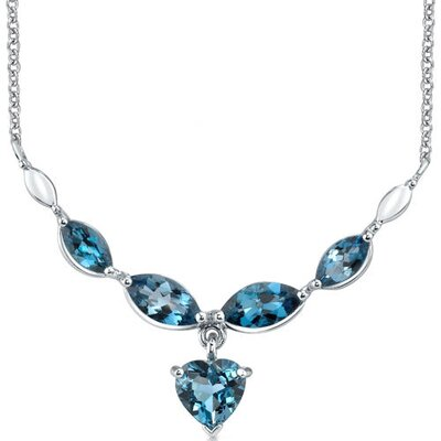 Oravo Elegant 6.25 Carats Heart and Marquise Shape London Blue Topaz Multi-Gemstone Necklace in Sterling Silver