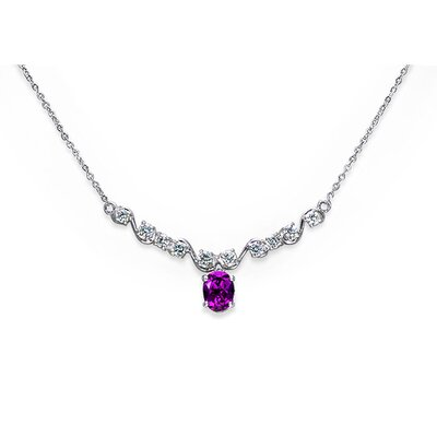 Trendy 1.50 Carats Oval Shape Amethyst and White CZ Gemstone Necklace in Sterling Silver