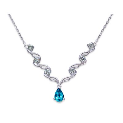 Oravo Eye Catchy 1.5 Carats Pear Shape London Blue Topaz and White CZ Gemstone Necklace in Sterling Silver