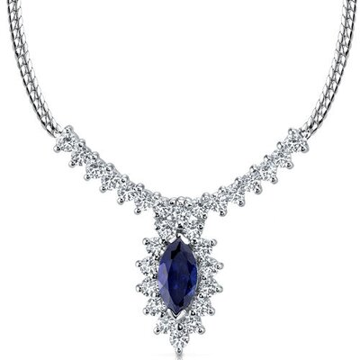 Majestic Marquise Shape Created Sapphire and White CZ Pendant Necklace in Sterling Silver