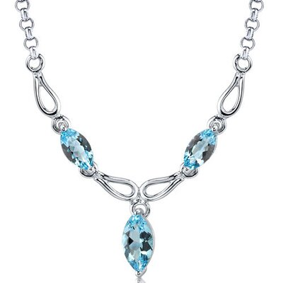 Attractive 4.25 carats Marquise Shape Swiss Blue Topaz Multi-Gemstone Necklace in Sterling Silver