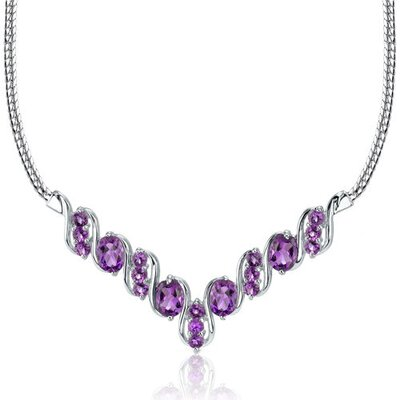 Trendy 4.50 carats Oval and Round Shape Amethyst Multi-Gemstone Necklace in Sterling Silver