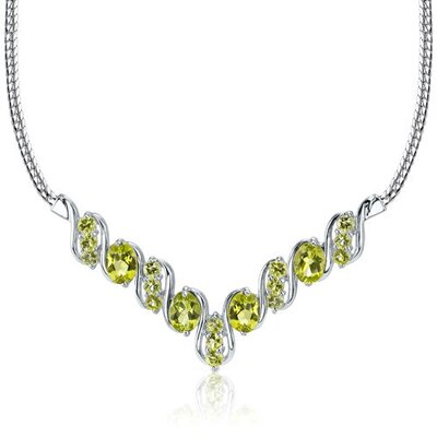 4.75 carats Oval and Round Shape Peridot Multi-Gemstone Necklace in Sterling Silver