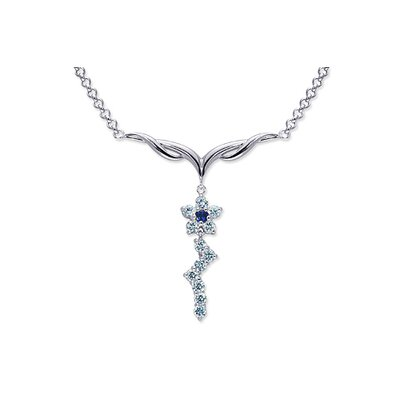 Beautiful Round Shape Created Sapphire and White CZ Pendant Necklace in Sterling Silver