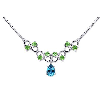 Unique 4.50 carats Pear and Round Shape Multi-Gemstone Necklace in Sterling Silver