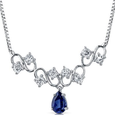 Unique Pear Shape Created Sapphire and White CZ Pendant Necklace in Sterling Silver