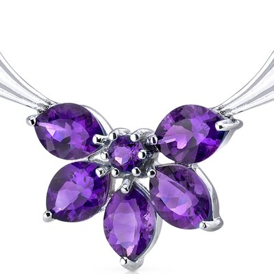 Oravo Express Yourself 3.50 carats Marquise and Round Shape Amethyst Multi-Gemstone Necklace in Sterling Silver