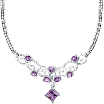 1.25 carats Princess Cut and Round Shape Amethyst Multi-Gemstone Necklace in Sterling Silver