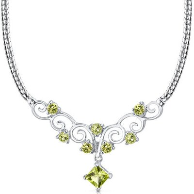 1.25 carats Princess Cut and Round Shape Peridot Multi-Gemstone Necklace in Sterling Silver