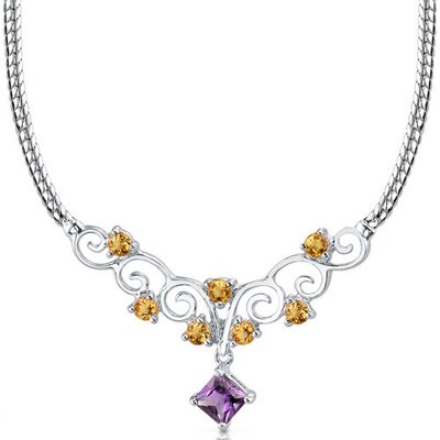 1.25 carats Princess Cut and Round Shape Amethyst and Citrine Necklace in Sterling Silver