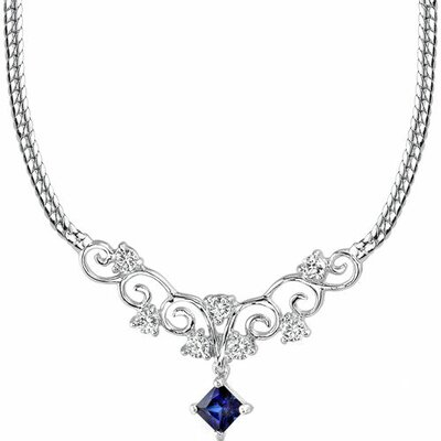 Princess Cut Created Sapphire and White CZ Pendant Necklace in Sterling Silver