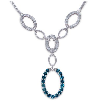Oravo European Style 2.00 Carats Total weight Round Shape London Blue Topaz and White CZ Gemstone Necklace in Sterling Silver
