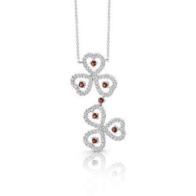 Oravo Destined to Dazzle 1.00 Carat Round Shape Garnet and White CZ Gemstone Necklace in Sterling Silver