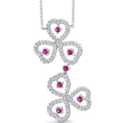 Oravo Destined to Dazzle Round Shape Ruby and White CZ Gemstone Necklace in Sterling Silver