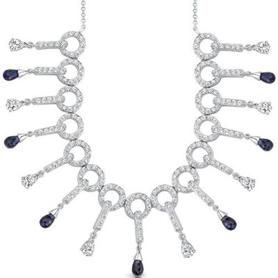 Oravo Dainty Chic Briolette Drop Sapphire and White CZ Gemstone Necklace in Sterling Silver