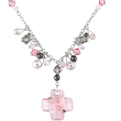 Cross My Heart Sterling Silver Charm Necklace with Pink Swarovski Crystals and Pearls