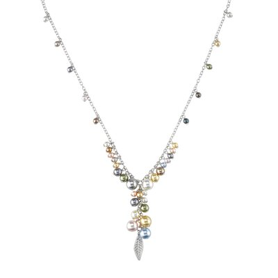 Oravo Spring Bouquet Sterling Silver Charm Necklace with Swarovski Cultured Pearls and Feather Charm