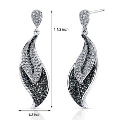 Oravo Black and White CZ Sparkling Feather Design Finish Dangle Earrings