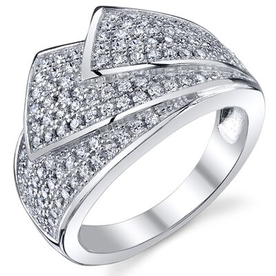 Oravo Sterling Silver Rhodium Finish CZ Shimmering Wave Micro Pave Ring