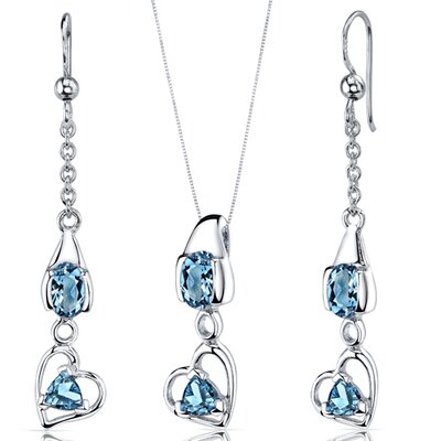 Oravo Oval and Trillion Cut Gemstone Heart Design Pendant Earrings Set