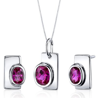 Oval Cut Gemstone Art Deco Bezel Pendant Earrings Set