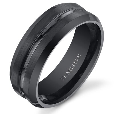 Men's Tungsten Center Groove Wedding Band