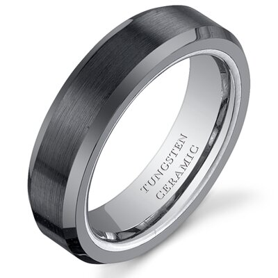 Brushed Center Tungsten Ceramic Beveled Edge Wedding Band