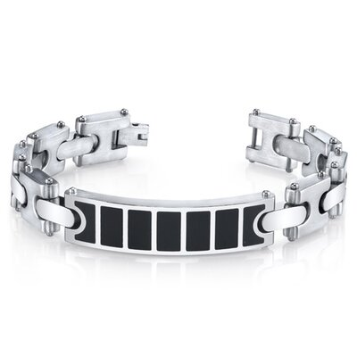 Men's Black Center H Style Link Combination Finish Stainless Steel I.D. Bracelet