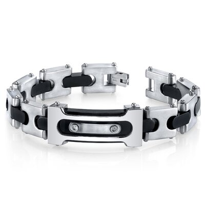 Men's Double Riveted Black Two Tone Stainless Steel Bracelet