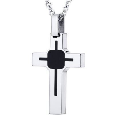Art Deco Style Polished Finish Stainless Steel Cross Pendant