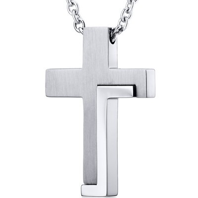Modern Artistic Two Tone Stainless Steel Cross Pendant