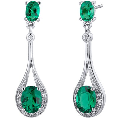 Oravo Glamorous 3.50 Carats Oval Cut Emerald Dangle Earrings
