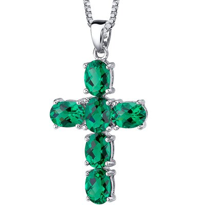 4.50 Carats Oval Cut Emerald Cross Pendant with 18