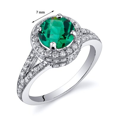 Oravo Majestic Sensation 1.25 Carats Round Cut with Checkerboard Top Emerald Ring