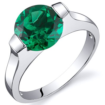 Bezel Set 1.75 Carats Round Cut Emerald Engagement Ring