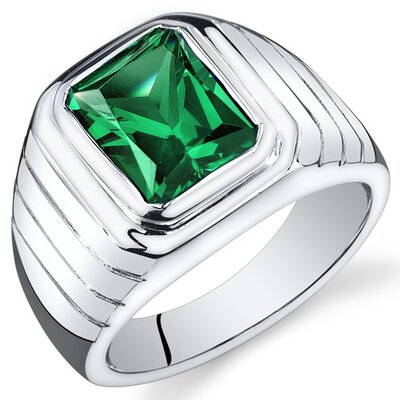 Men's Sterling Silver Octagon Cut Gemstone Ring