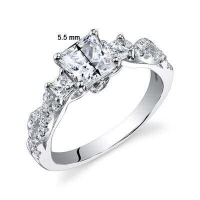 Oravo Sterling Silver Princess Cut Cubic Zirconia Single Stone Ring