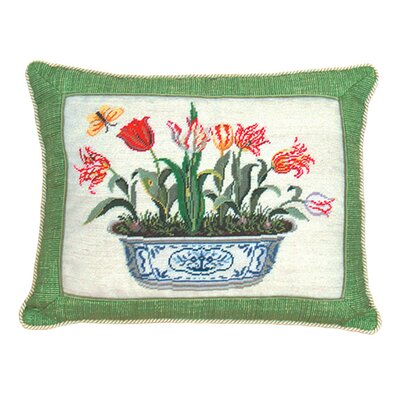 123 Creations Tulip in Pot 100% Wool Petit-Point Pillow with Fabric Trimmed