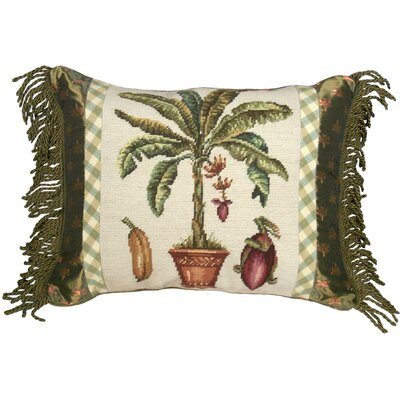 Banana Tree 100% Wool Needlepoint Pillow with Fabric Trimmed