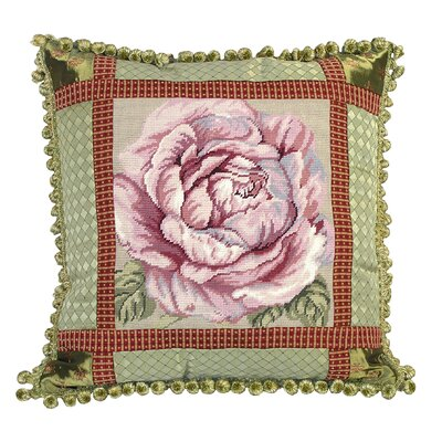 Rose Needlepoint Pillow with Fabric Trimmed