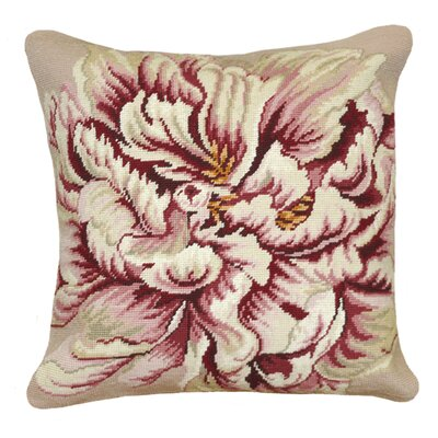 123 Creations Peony 100% Wool Square Needlepoint Pillow