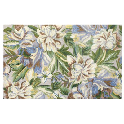 123 Creations Floral Magnolia Blue Hook Rug