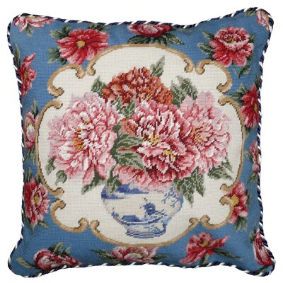 Peony Needlepoint Pillow with Border