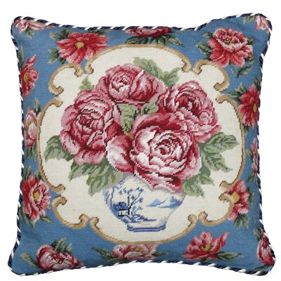 Rose Needlepoint Pillow with Border
